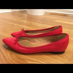 Corso Como red leather pointed toe flats with bow